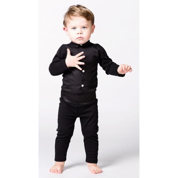 "18bbee489ab ... Παιδικό κορμάκι πουκάμισο The Tiny Universe ""The Tiny body Tuxedo"" All  Black στο Bebe"