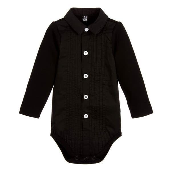 "f7f674d628f Παιδικό κορμάκι πουκάμισο The Tiny Universe ""The Tiny body Tuxedo"" All  Black στο Bebe ..."