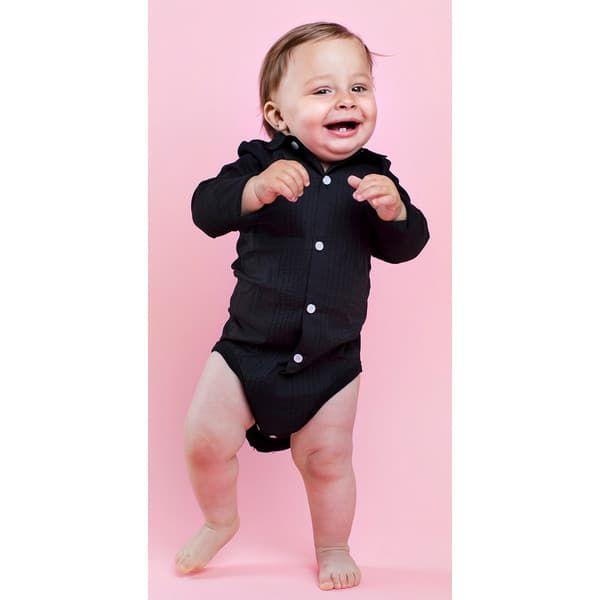 "5f4fcddce91 ... Παιδικό κορμάκι πουκάμισο The Tiny Universe ""The Tiny body Tuxedo"" All  Black στο Bebe ..."