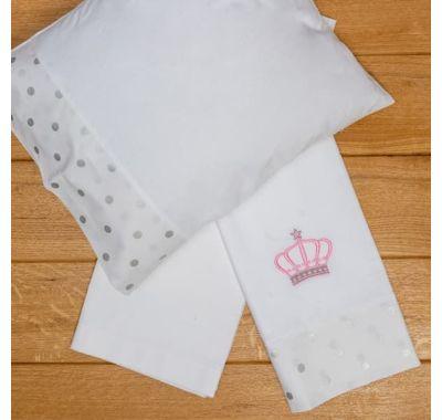Σετ σεντόνια καλαθούνας-λίκνο ABO 3τμχ Queens crown ροζ στο Bebe Maison