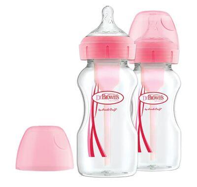 Διπλή συσκευασία μπιμπερό Dr Brown πλαστικό 270ml με φαρδύ λαιμό options+ ροζ στο Bebe Maison