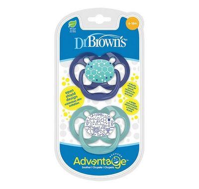 Ανατομική πιπίλα σιλικόνης Dr Brown's Advantage μπλε 6-18 μηνών 2 τμχ στο Bebe Maison