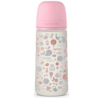 Πλαστικό μπιμπερό PP Suavinex με φυσιολογική θηλή σιλικόνης Memory Pink 6+ μηνών 360ml στο Bebe Maison