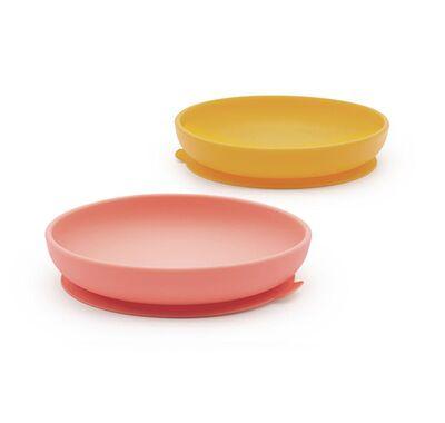 Σετ 2 πιάτα σιλικόνης Ekobo κίτρινο-κοραλί στο Bebe Maison