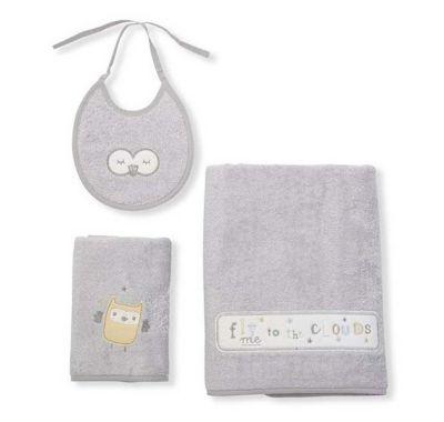 Σετ πετσέτες Funna Baby Owlet γκρι στο Bebe Maison