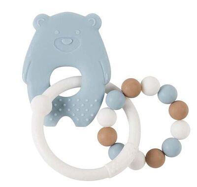 Κρίκος οδοντοφυΐας σιλικόνης Nattou αρκουδάκι λευκό-γαλάζιο στο Bebe Maison
