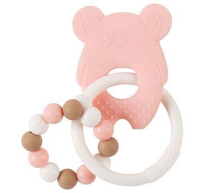 Κρίκος οδοντοφυΐας σιλικόνης Nattou ποντικάκι λευκό-ροζ στο Bebe Maison