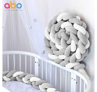 Πάντα πλεξούδα ABO βελουτέ γκρι-λευκό 2m στο Bebe Maison