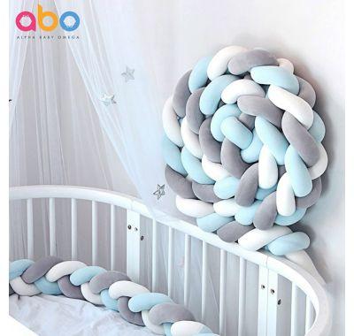 Πάντα πλεξούδα ABO βελουτέ γαλάζιο-λευκό-γκρί 2m στο Bebe Maison
