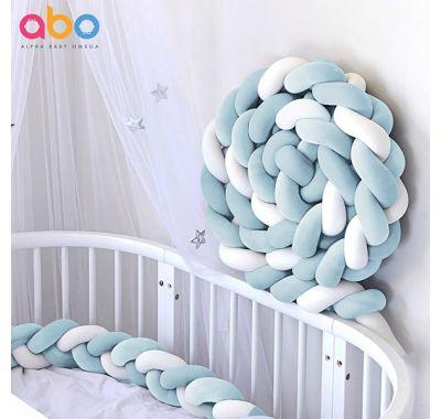 Πάντα πλεξούδα ABO βελουτέ γαλάζιο-λευκό 2m στο Bebe Maison