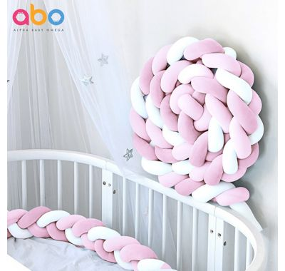 Πάντα πλεξούδα ABO βελουτέ ροζ-λευκό 2m στο Bebe Maison