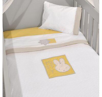Κουβέρτα πικέ κρεβατιού Miffy σχέδιο 64 μουσελίνα μπεζ στο Bebe Maison