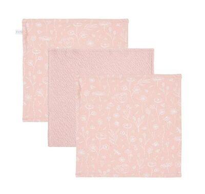 Σετ 3 πανάκια προσώπου Little Dutch wild flowers pink/pure pink στο Bebe Maison
