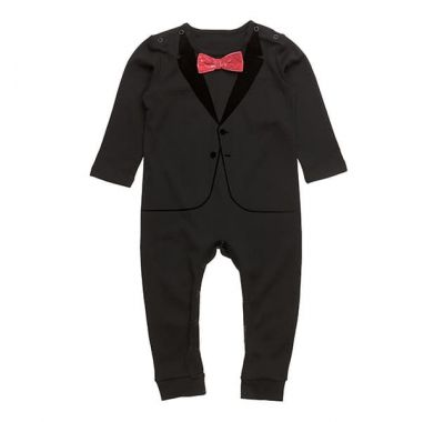 "Βρεφικό φορμάκι The Tiny Universe ""The Velvet Tuxedo Black Red Bow"" στο Bebe Maison"