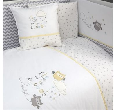 Σετ προίκας 6τμχ Funna Baby σχέδιο Owlet γκρι στο Bebe Maison