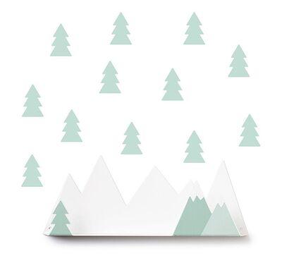 Ράφι τοίχου - βουνοκορφές & αυτοκόλλητα TRESXICS έλατα (απαλό πράσινο) στο Bebe Maison
