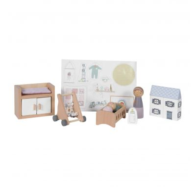 Ξύλινο παιχνίδι σετ βρεφικού δωματίου Little Dutch για ξύλινο κουκλόσπιτο στο Bebe Maison