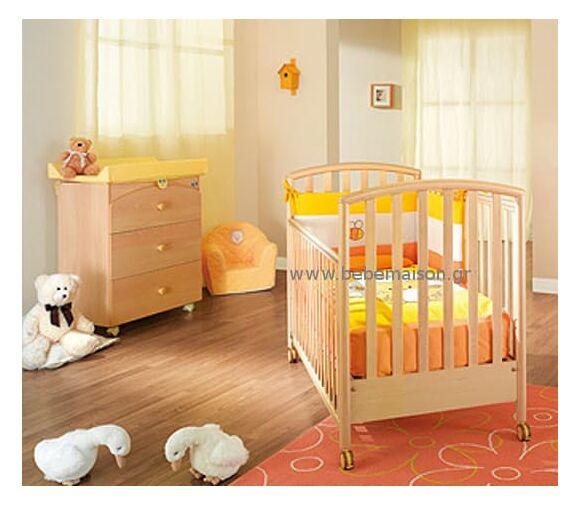 Ολοκληρωμένο βρεφικό δωμάτιο Pali Κρεβάτι Ciak και συρταρίερα bagnetto φυσικό στο Bebe Maison