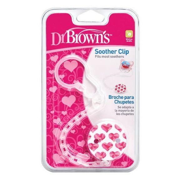 Κλιπ πιπίλας με αλυσίδα Dr Brown's ροζ στο Bebe Maison
