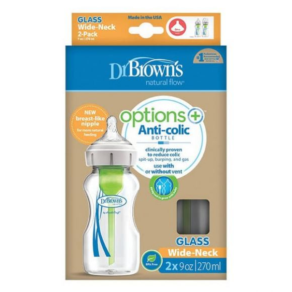 Διπλή συσκευασία μπιμπερό Dr Brown γυάλινο 270 ml με φαρδύ λαιμό options+ στο Bebe Maison