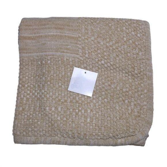 Κουβέρτα αγκαλιάς πλεκτή & fleece Bebe Maison μονόχρωμη κάμελ μελανζέ στο Bebe Maison