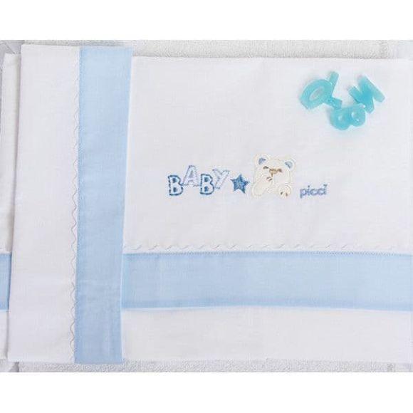 Σετ σεντόνια καλαθούνας-λίκνο Picci σχέδιο Mami blue 90 x 120 cm στο Bebe Maison