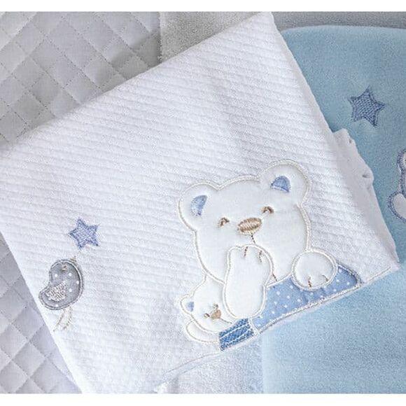 Κουβέρτα πικέ αγκαλιάς Picci σχέδιο Mami blue στο Bebe Maison