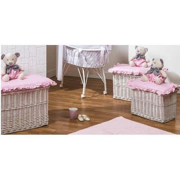 Σετ ψάθινα καλάθια 3τμχ (παιχνιδόκουτα) Picci σχέδιο Mami pink στο Bebe Maison