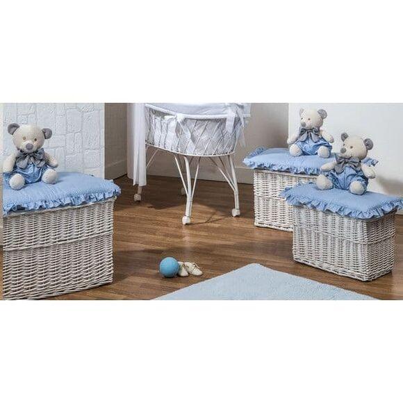 Σετ ψάθινα καλάθια 3τμχ (παιχνιδόκουτα) Picci σχέδιο Mami blue στο Bebe Maison