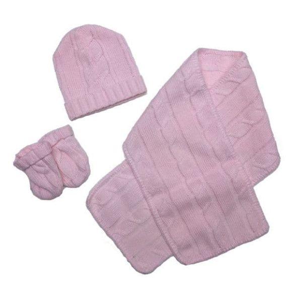 Σετ γαντάκια-σκουφάκι-κασκόλ Bebe Maison ροζ στο Bebe Maison