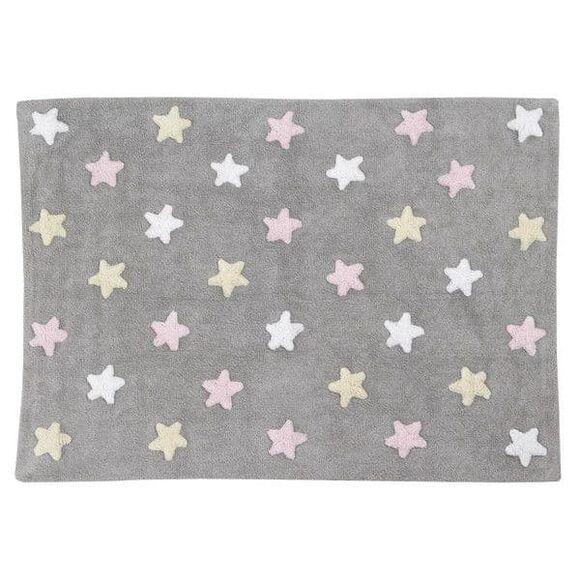 Παιδικό χαλί Lorena Canals γκρι αστέρια ροζ, κίτρινο, λευκό Grey Stars Pink LΟR-C-SΤ-Ρ 120x160 στο Bebe Maison