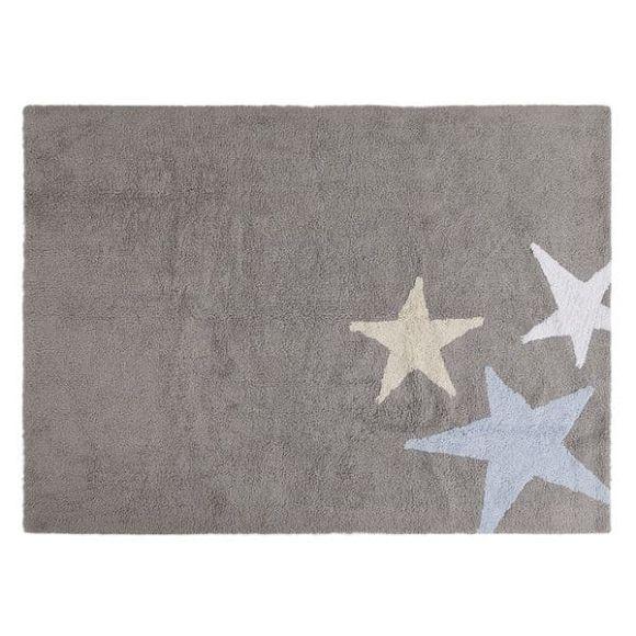 Παιδικό χαλί Lorena Canals γκρι με 3 αστέρια γαλάζιο κίτρινο λευκό 120x160 στο Bebe Maison
