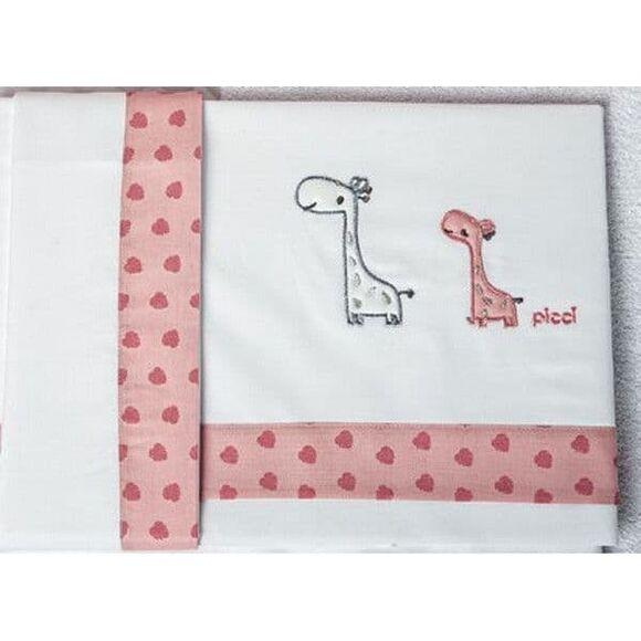 Σετ σεντόνια καλαθούνας-λίκνο Picci σχέδιο Nido pink στο Bebe Maison