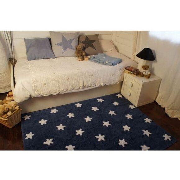 Παιδικό χαλί Lorena Canals μπλε αστέρια λευκά navy stars white 120x160 στο Bebe Maison