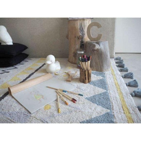 Παιδικό χαλί Lorena Canals LOR-AZ-NVB Azteca Natural Vintage Blue 120x160 στο Bebe Maison