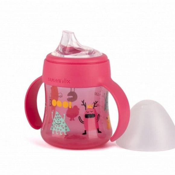 Suavinex πρώτο Μπιμπερό με λαβές 150ML ροζ Booooo! στο Bebe Maison