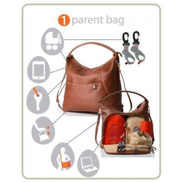Τσάντα αλλαξιέρα Pacapod Δερμάτινη Jasper Chestnut στο Bebe Maison