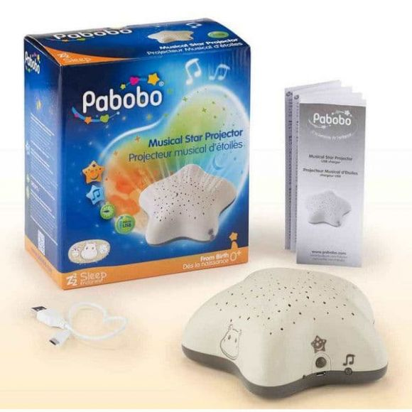 Pabobo SP02USB-BOIS Μουσικός προβολέας αστεριών με USB μπεζ στο Bebe Maison