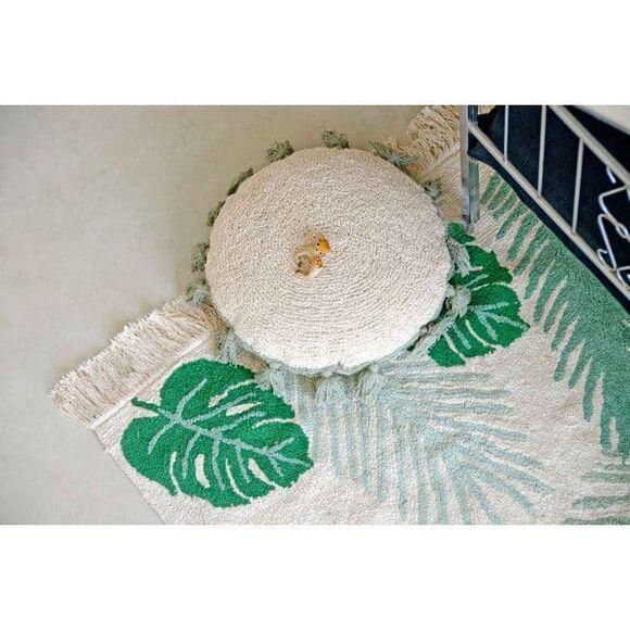 Lorena Canals. Μαξιλάρι στρόγγυλο λευκό-πράσινο στο Bebe Maison