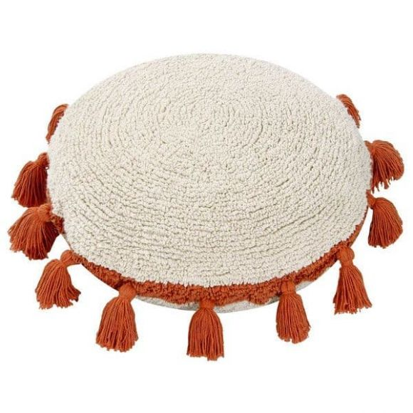 Lorena Canals. Μαξιλάρι στρόγγυλο λευκό-terracota στο Bebe Maison