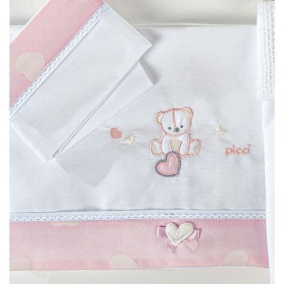Σετ σεντόνια καλαθούνας-λίκνο Picci σχέδιο Amelie rosa στο Bebe Maison