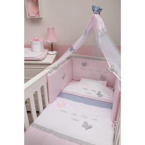 Σετ προίκας Byblos σχέδιο 84 Pink Butterfly στο Bebe Maison