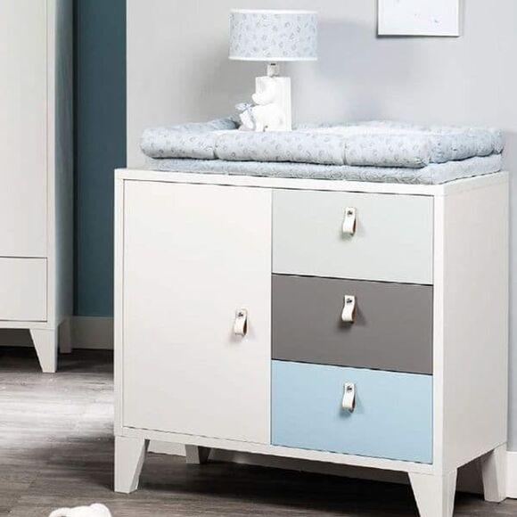 Συρταριέρα Picci από τη συλλεκτική σειρά Dili Best σχέδιο Astrid white/blue/grey 90 x 50 x (ύψος) 86 εκ. στο Bebe Maison
