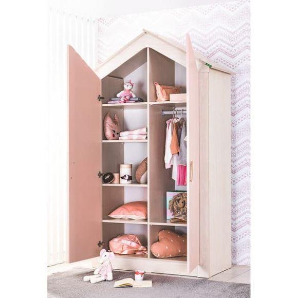 Παιδική ντουλάπα 2φυλλη Bebe Stars Pink House 425-27 στο Bebe Maison